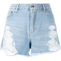 Ermanno Ermanno Bermuda Jeans Com Detalhe Destroyed - Azul
