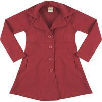 Casaco Trench Coat Look Jeans Botões Vermelho - Tricae