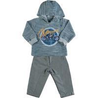 Conjunto Bebê Moletom E Microfibra Motorcycle - Masculino-Azul