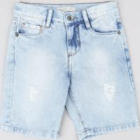 Bermuda Jeans Infantil Azul Claro
