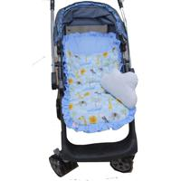 Capa De Carrinho De Bebê Safari Azul Com Almofada - 2 Peças