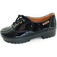 Oxford Quality Shoes Tratorado Verniz Feminino - Feminino-Preto