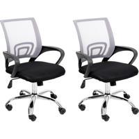 Conjunto Com 2 Cadeiras De Escritório Secretária Giratórias Java Preto E Cinza