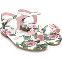 Dolce & Gabbana Kids Sandália Com Aplicações De Cristais E E Estampa De Rosas - Branco