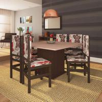 Conjunto De Mesa E Cadeira De Jantar 130X130 Cm Tabaco Floral