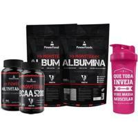Kit Monster Albumina 500G + Bcaa5200 100 Tbs + Multivitamínico 30Cáps E Coqueteleira - Power Foods - Unissex