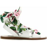 Dolce & Gabbana Sandália De Couro Estampa Floral - Branco