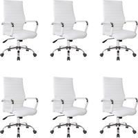 Conjunto Com 6 Cadeiras De Escritório Diretor Cleaner Branco