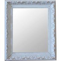 Espelho Moldura Rococó Raso 16280 Branco Patina Art Shop