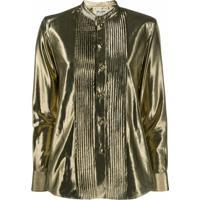 Saint Laurent Camisa Metálica Com Botões - Dourado