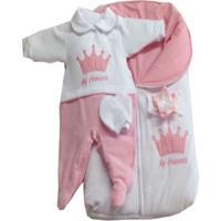 Saída Maternidade I9 Baby Princess Branco - Rosa Plush - Tricae