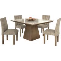 Conjunto De Mesa Pietra 0.90M Com Vidro Serigrafado Offwhite Com 4 Cadeiras Essence Castanho Tecido Veloart Bege Lj Móveis