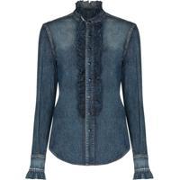 Saint Laurent Camisa Jeans Com Babados - Azul