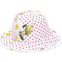 Monnalisa Polka-Dot Print Sun Hat - Branco