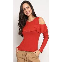 Blusa Canelada Com Babados - Vermelha - Sommersommer