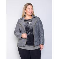 Casaco Palank Plus Size Gruges Feminino - Feminino-Preto