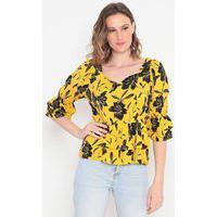Blusa Floral Com Babados Amarelo