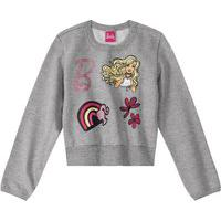 Casaco Moletom Infantil Feminino Barbie Malwee Kids