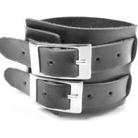 Bracelete Galeria Do Rock Duas Fivelas - Unissex-Preto