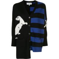 Loewe Cardigan Com Padronagem Animal - Preto