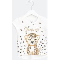 Camiseta Infantil Estampa Baby Onça - Tam 1 A 5 Anos | Póim (1 A 5 Anos) | Branco | 02