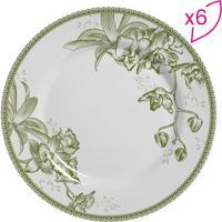 Conjunto De Pratos Rasos Flat Floral- Branco & Verdescalla Cerâmica
