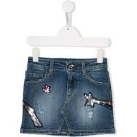 Msgm Kids Camisa Jeans Com Aplicação - Azul