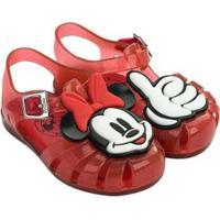 Sandália Mini Melissa Infantil Feminina Aranha Mickey And Friends - Feminino-Vermelho+Branco