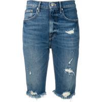 Frame Fringed Distressed Denim Shorts - Azul