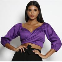 Blusa Cropped Com Transpasse- Roxa- Miss Bellamiss Bella
