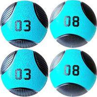 Kit 4 Medicine Ball Liveup Pro 3 E 8 Kg Bola De Peso Treino Funcional - Unissex