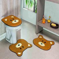 Jogo Banheiro Dourados Enxovais Formato Urso Caramelo