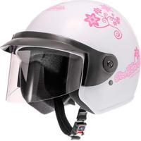 Capacete Moto Liberty Three Floral Tam 58 Branco Pro Tork