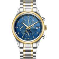 Relógio Tevise T8122B Masculino Automático Pulseira De Aço - Azul E Dourado