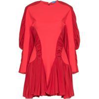 Mugler Vestido Com Mangas Franzidas - Vermelho