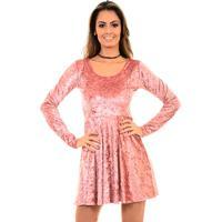 Vestido Bruna Farias Veludo Rosê