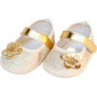 Sapatilha Brilho Sapatinhos Baby Dourada