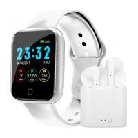 Kit Relógio Smartwatch I5 + Fone De Ouvido Tws Air I7S Bluetooth 5.0 Com Case - Branco