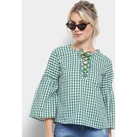 Blusa Top Moda Bata Xadrez Amarração Feminina - Feminino-Verde
