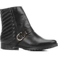 Bota Couro Cano Curto Shoestock Bico Redondo Matelassê Feminina - Feminino-Preto