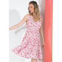 Vestido Curto Folhagem Rosa Com Decote Costas
