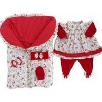 Saída Maternidade Beth Para Bebê Menina Vermelho P