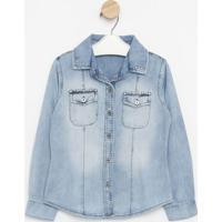 Camisa Jeans Com Detalhe- Azul Claro- Pequena Maniapequena Mania
