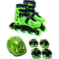 Kit Patins Unik Toys Ajustável Do 35 Ao 38 Durão Verde