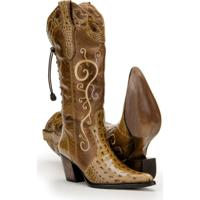 ... Bota Texana Couro Country Capelli Boots Jacaré Feminina - Feminino- Marrom ac1633bc844