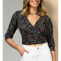 Blusa Quintess Cropped Preta Floral