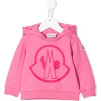 Moncler Kids Blusa De Moletom Com Capuz E Estampa De Logo - Rosa