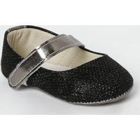 Sapato Boneca Com Fios Metalizado- Preto & Prateado-Tico Baby