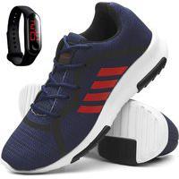 Tenis Masculino Esporte Caminhada + Relogio Digital Azul