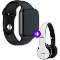 Kit Smartwatch Iwo9 44Mm Preto + Headphone Bluetooth P47 Branco